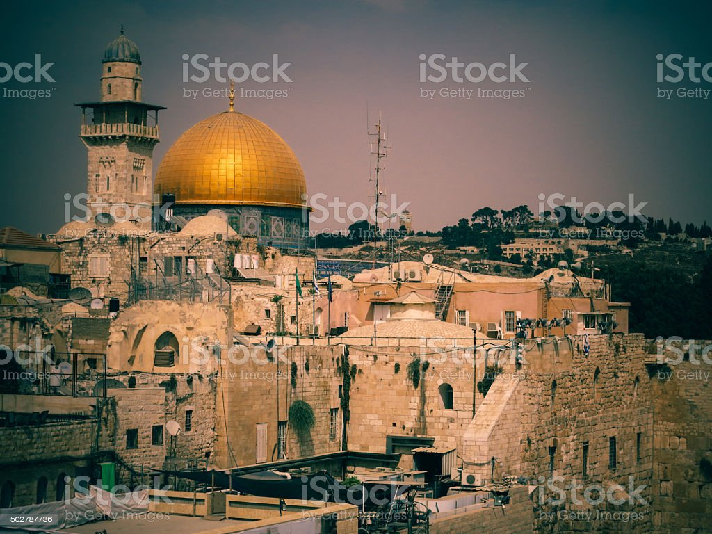 Jerusalem Old City - Dome of the Rock, Western Wall stock photo