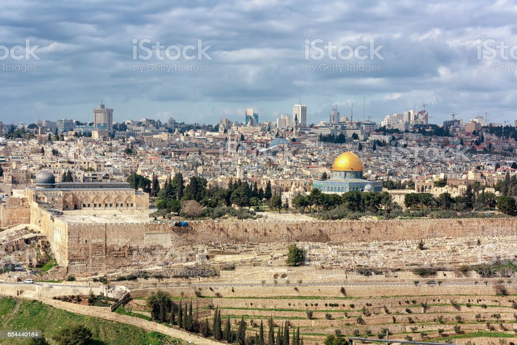 Jerusalem Old City from the Mount of Olives stock photo