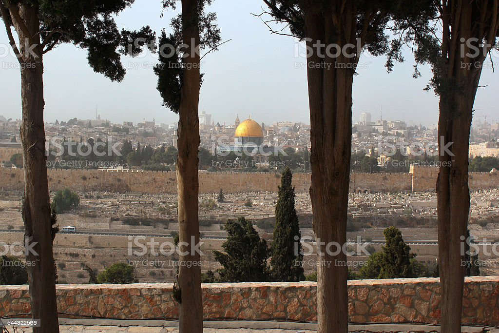 Jerusalem Old City, Israel. View from the Mount of Olives. stock photo