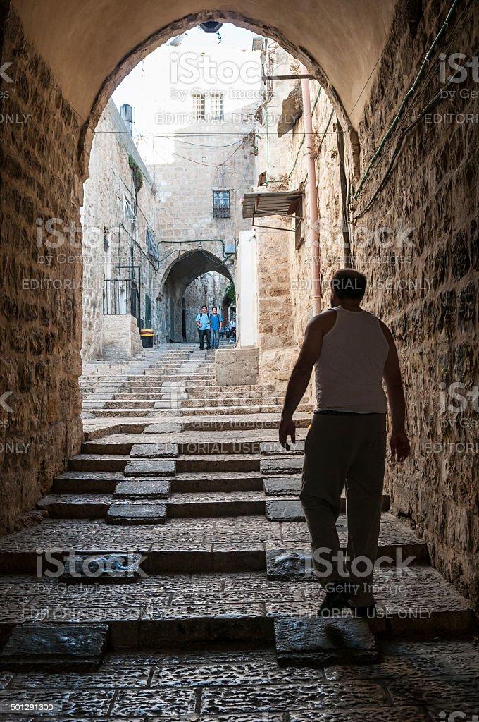 Jerusalem Old City, Muslim Quarter stock photo