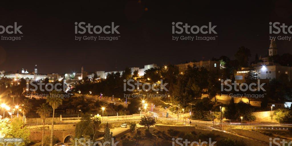 Jerusalem old city night panoramic aerial view stock photo
