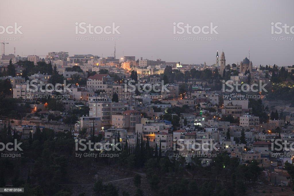 Jerusalem old city skyline panoramic aerial view stock photo
