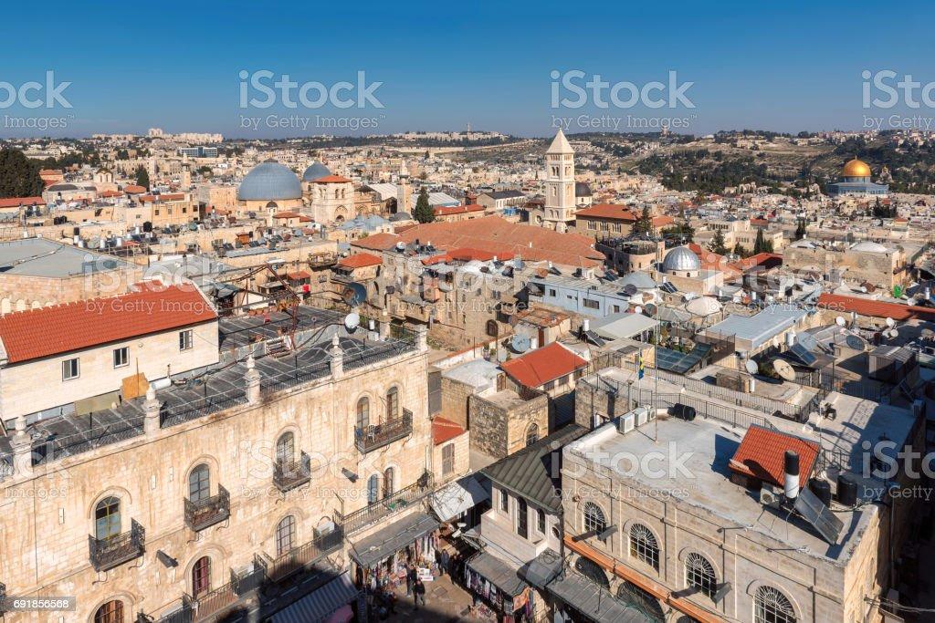 Jerusalem Old City Skyline stock photo
