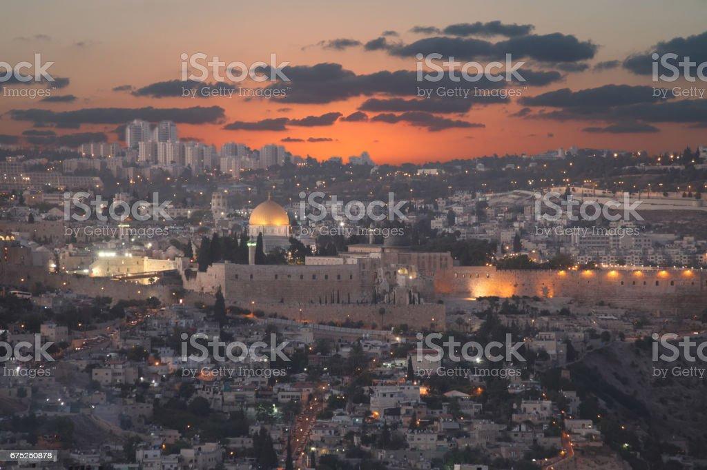 Jerusalem old city sunset panoramic aerial view stock photo