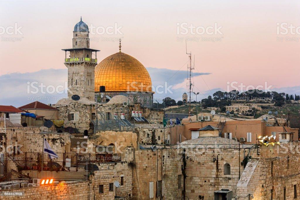 Jerusalem Old City - Temple Mount - Twilight stock photo