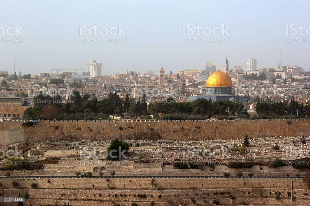 Jerusalem Old City. View from the Mount of Olives. stock photo