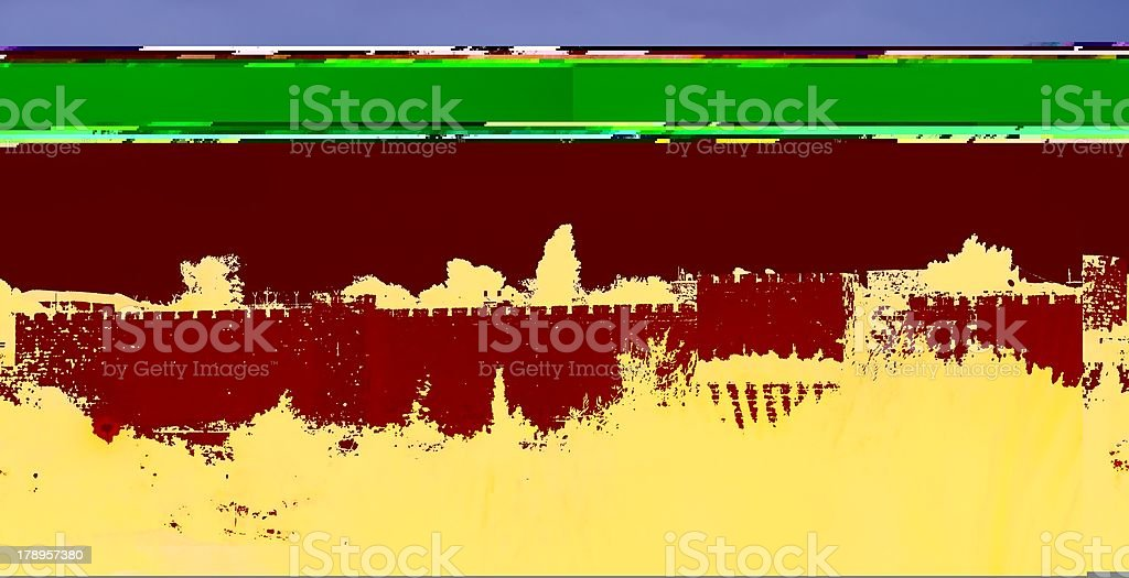 Jerusalem Old City wall at night royalty-free stock photo