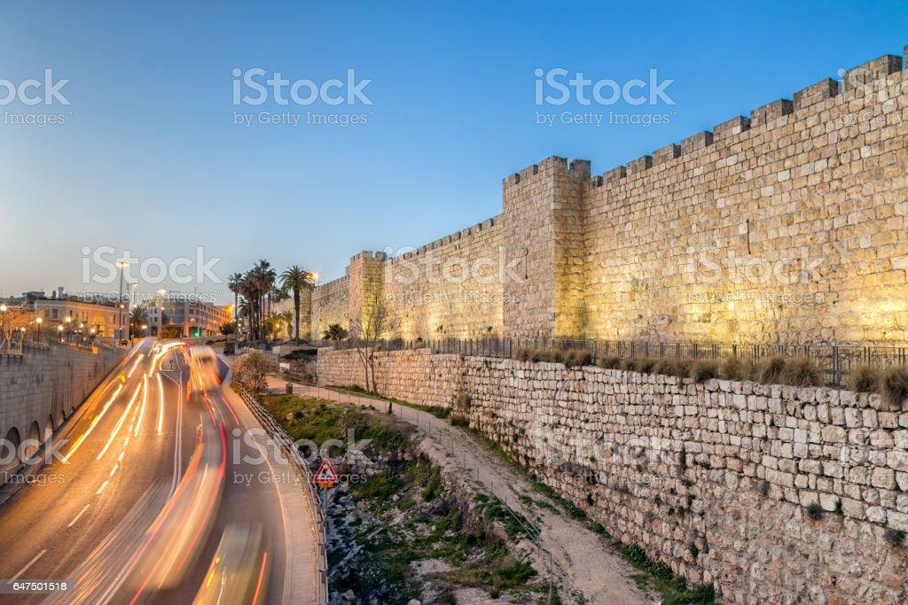 Jerusalem Old City Walls at Night at Jaffa Gate stock photo