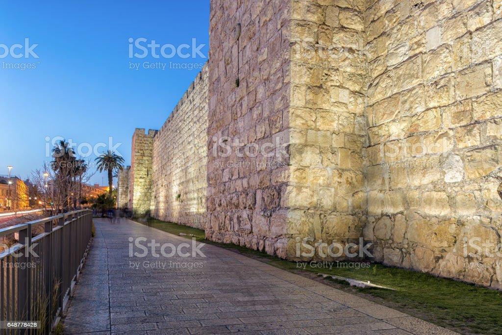 Jerusalem Old City Walls at Night (Jaffa Gate) stock photo