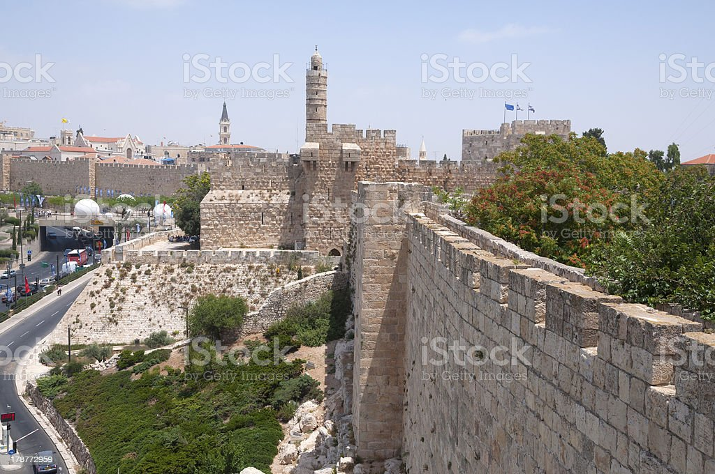Jerusalem old city walls royalty-free stock photo