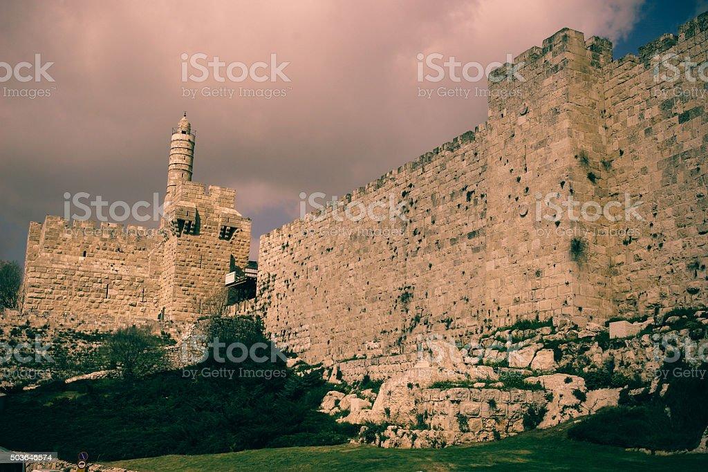 Jerusalem Old City walls stock photo