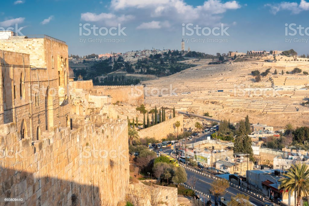Jerusalem old wall and Mount of Olives, Israel stock photo