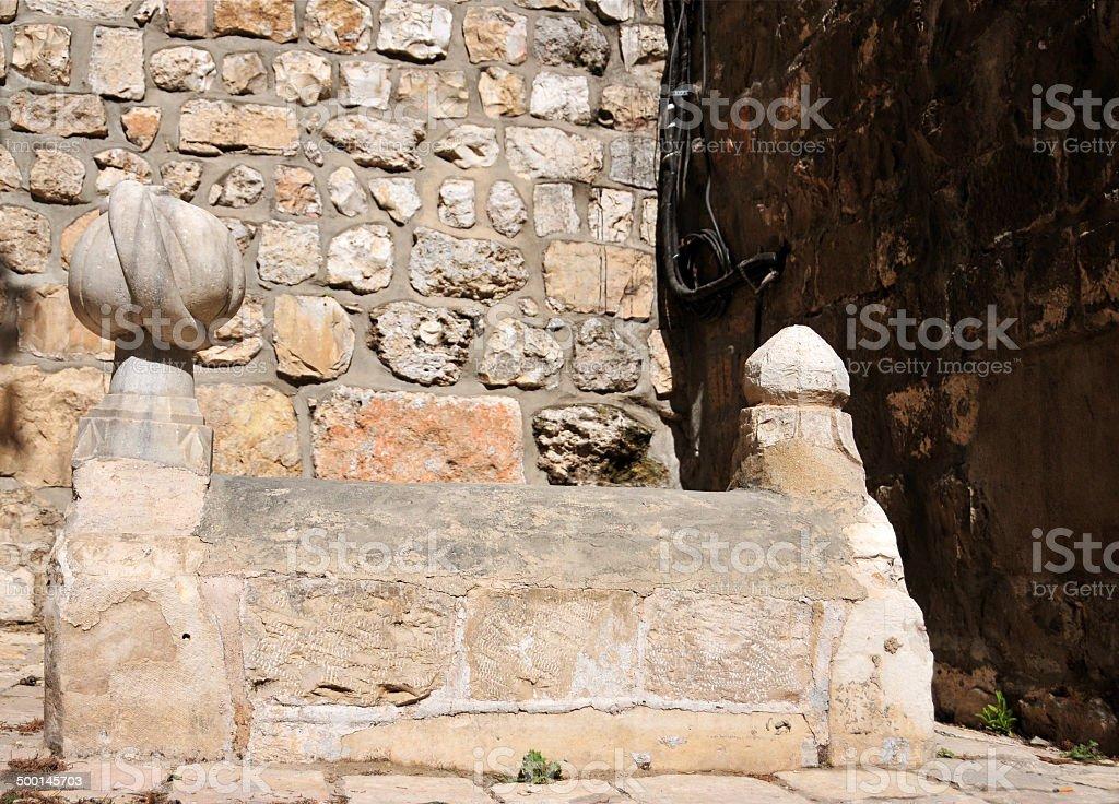 Jerusalem, Ottoman tomb with turban stock photo