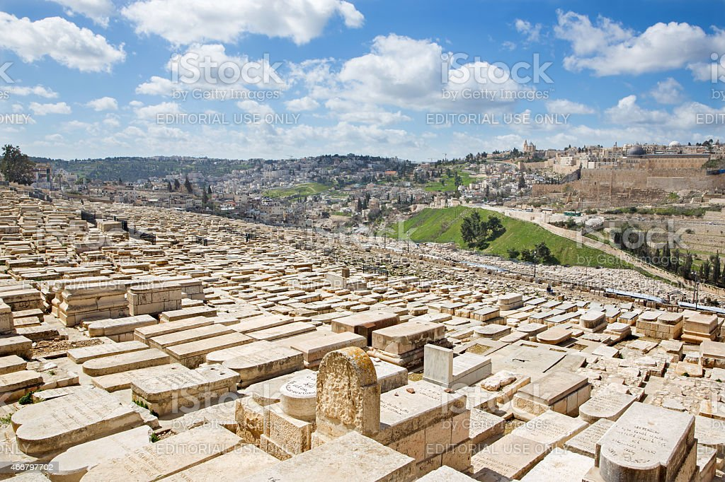 Jerusalem - outllok over jewish cemetery on Mount of Olives stock photo