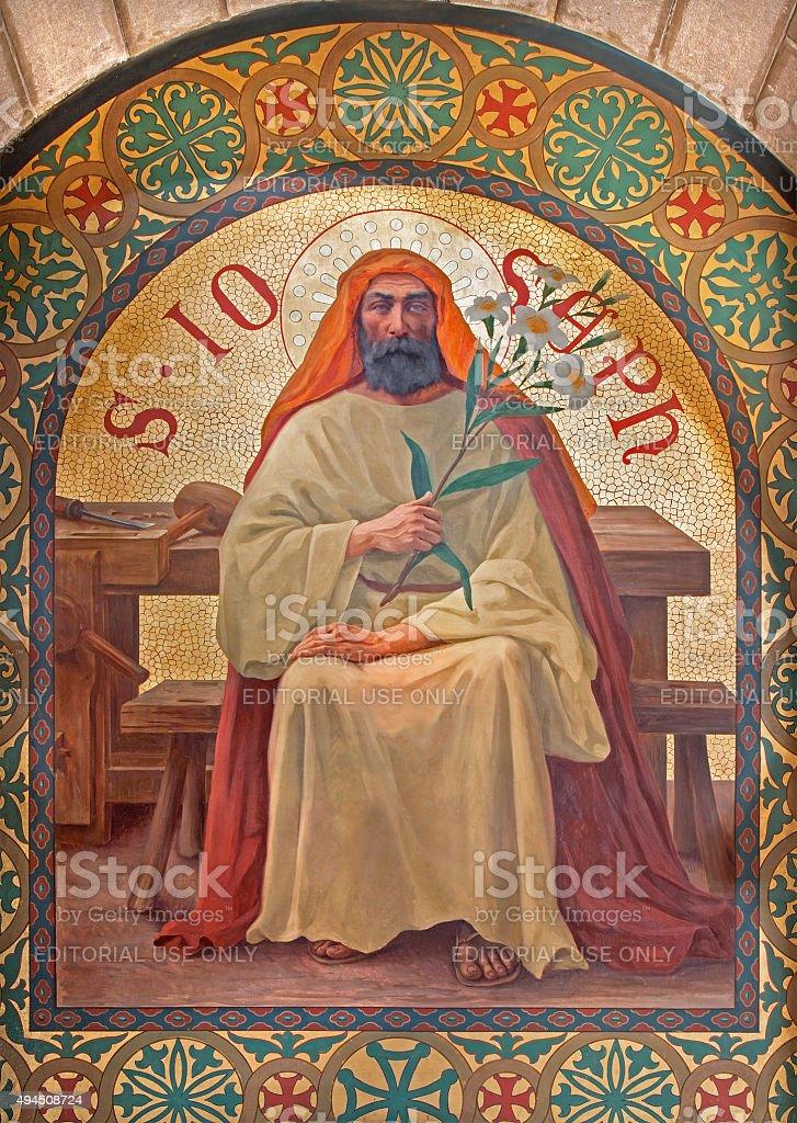 Jerusalem - paint of Saint Joseph  in st. Stephens church stock photo