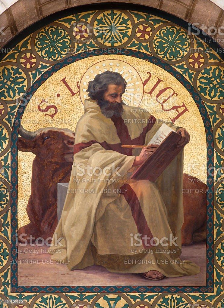 Jerusalem - paint of Saint Luke the Evangelist stock photo