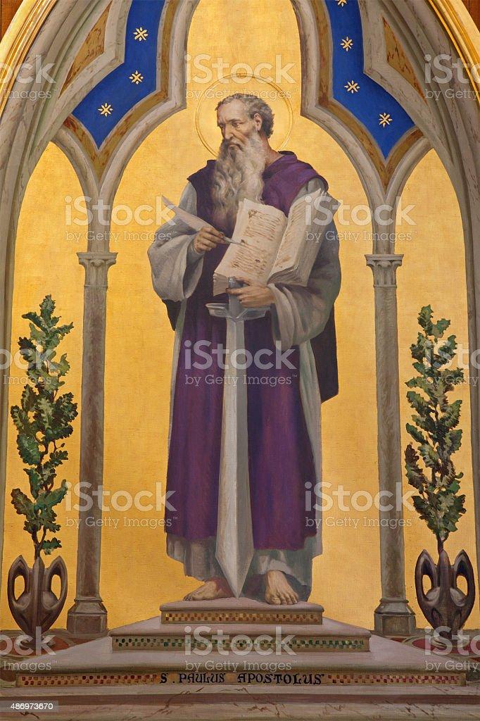 Jerusalem - paint of St. Paul the Apostle stock photo