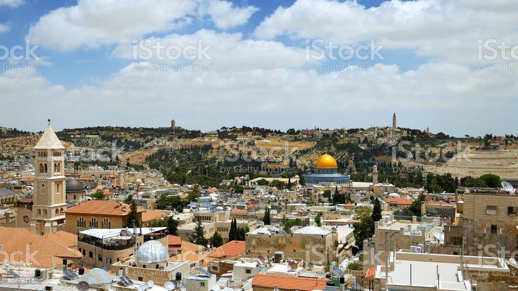 Jerusalem panoramic aerial view stock photo