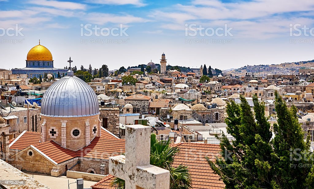 Jerusalem panoramic roof view stock photo