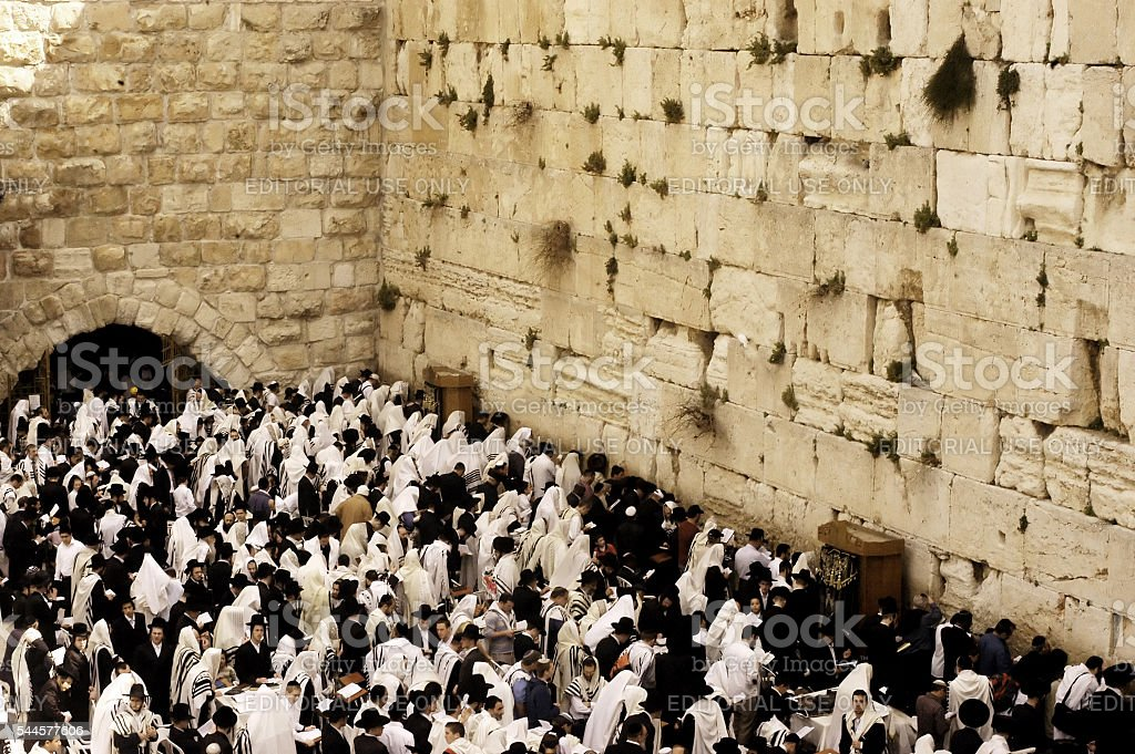 Jerusalem Passover Blessing at the Western Wall stock photo