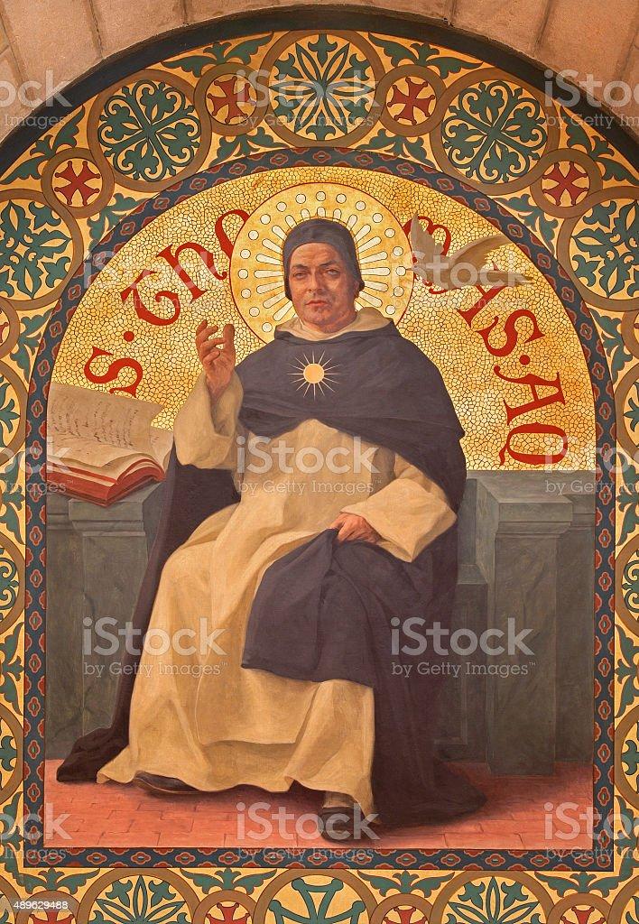 Jerusalem - philosopher Saint Thomas of Aquinas stock photo