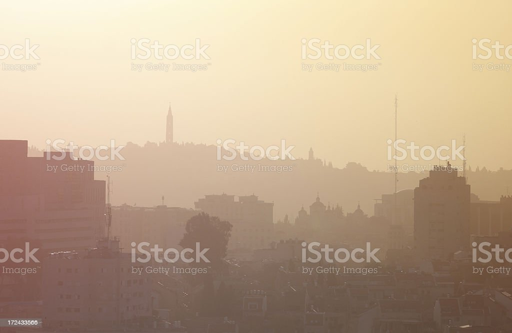 Jerusalem skyline at dawn stock photo