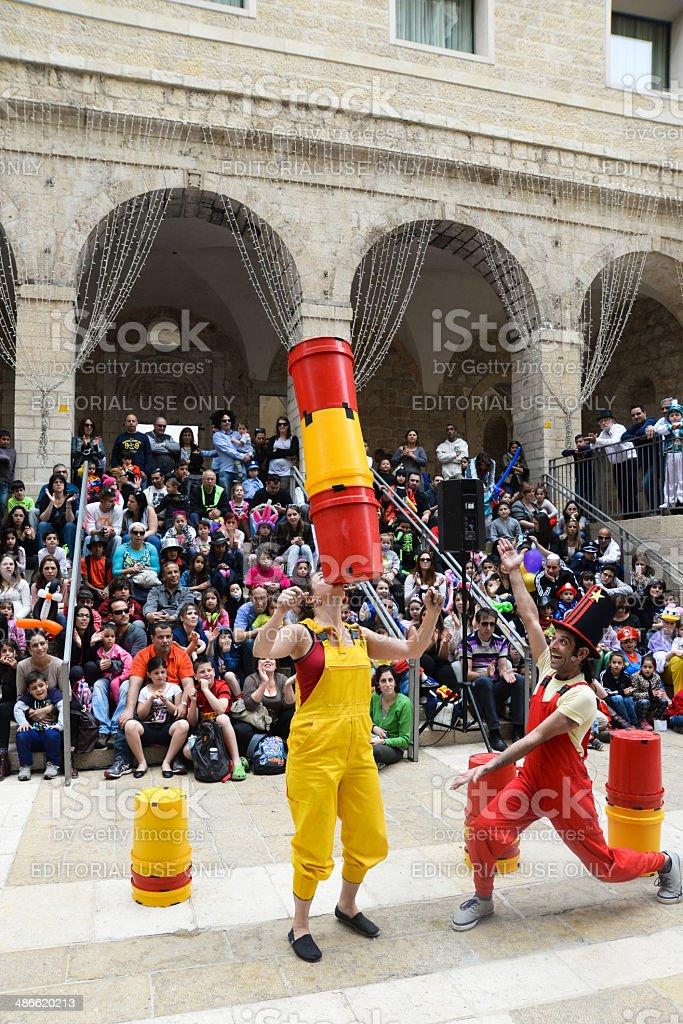 Jerusalem street show during Purim stock photo