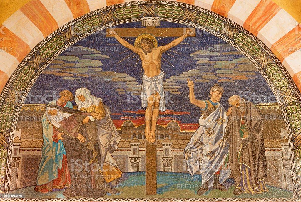 Jerusalem - The Crucifixion mosaic stock photo