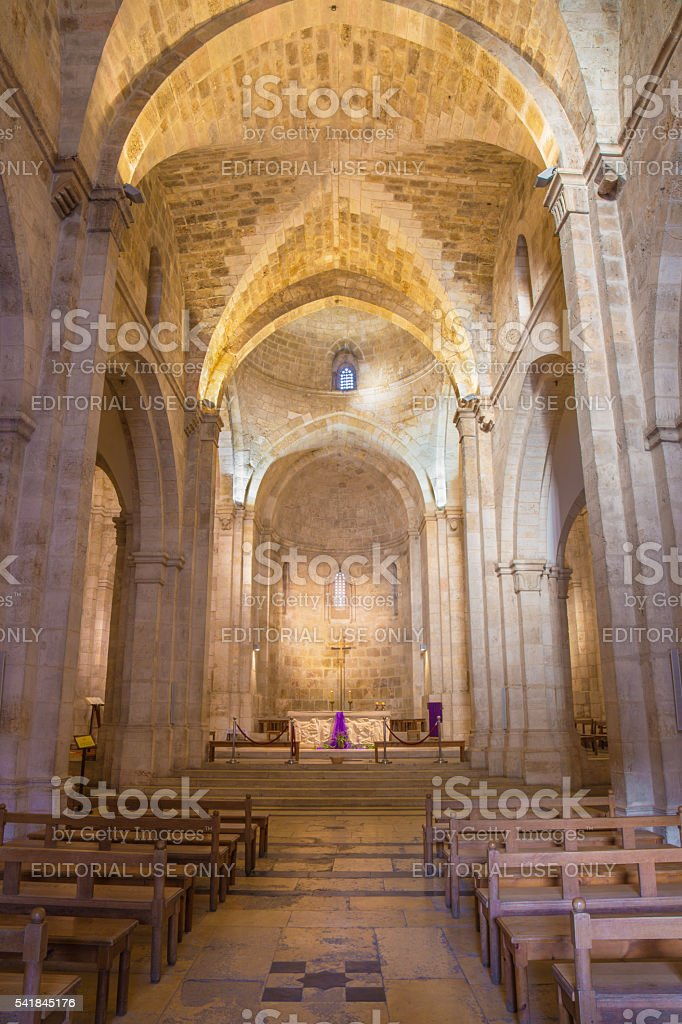 Jerusalem - The gothic nave of St. Anne church stock photo