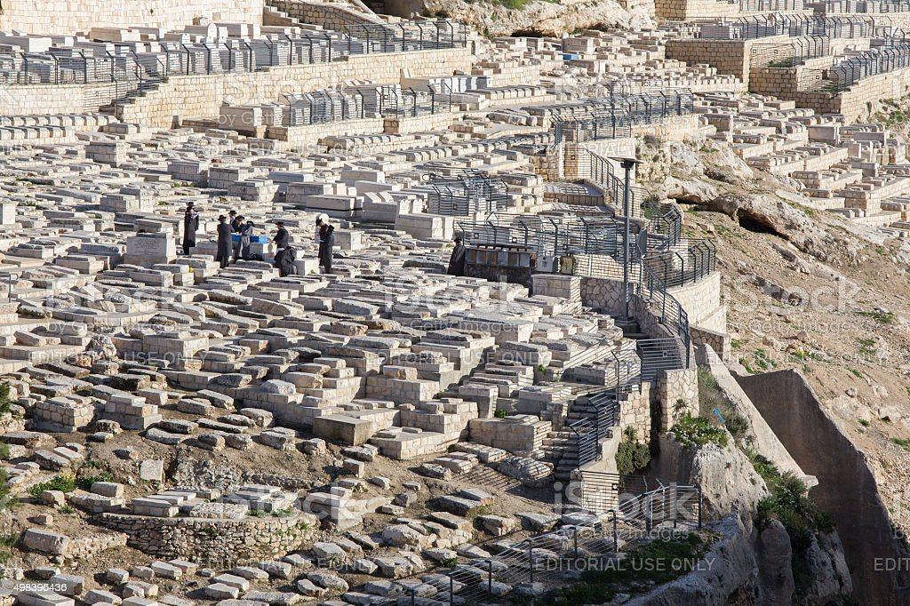 Jerusalem - The jewish cemetery on the Mount of Olives stock photo