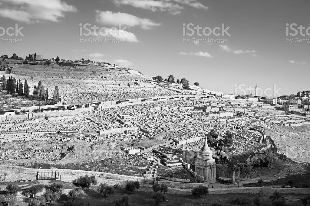 Jerusalem - The jewish cemetery on the Mount of Olives. stock photo