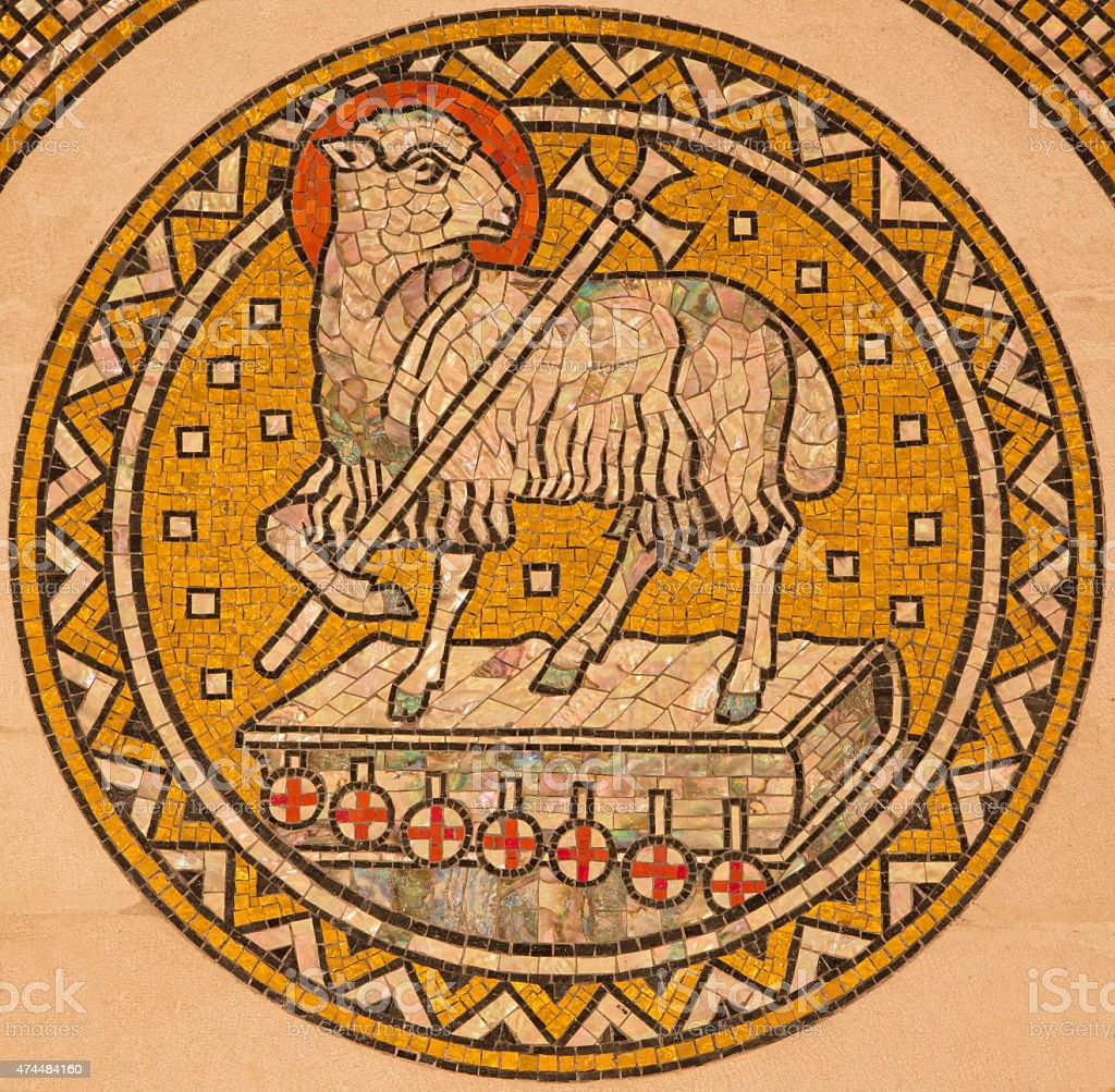Jerusalem - The lamb of God mosaic stock photo