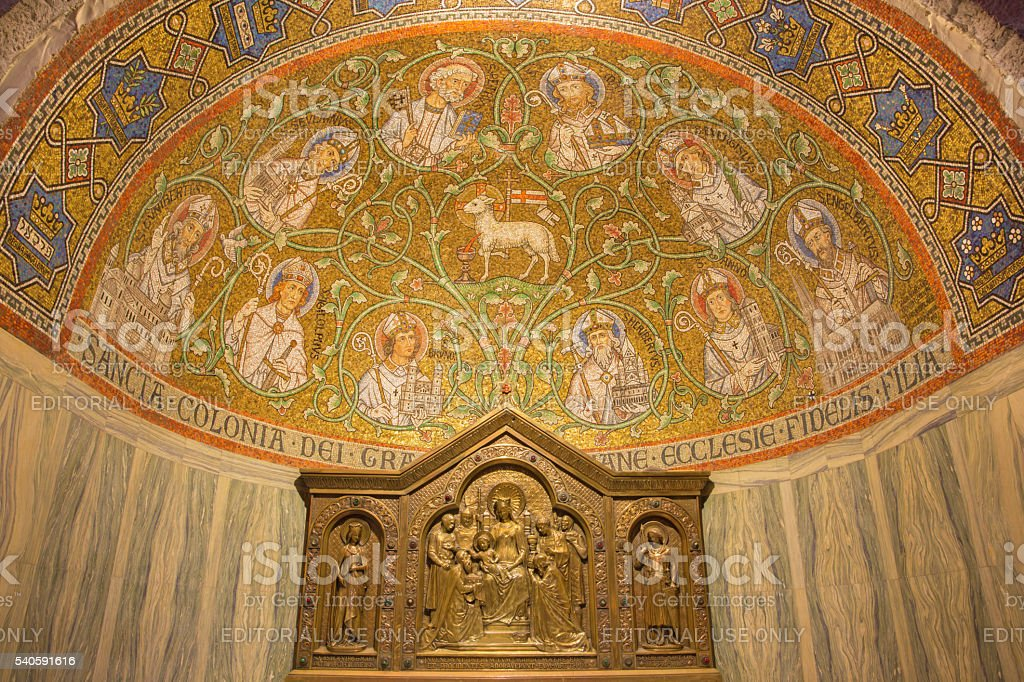 Jerusalem - The mosaic of The Lamb in Dormition abbey stock photo