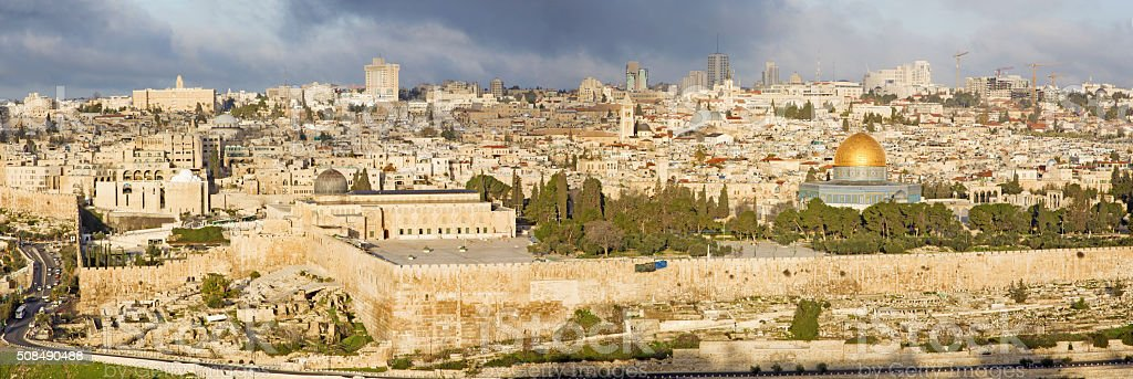 Jerusalem - The Panorama from Mount of Olives stock photo