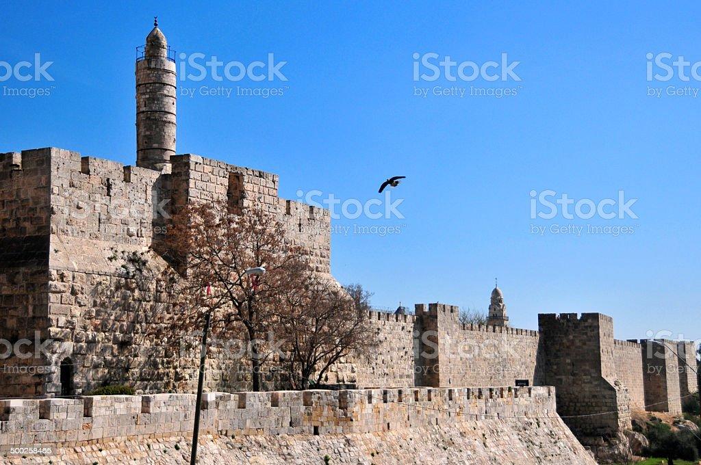 Jerusalem, tower of David and the City walls stock photo