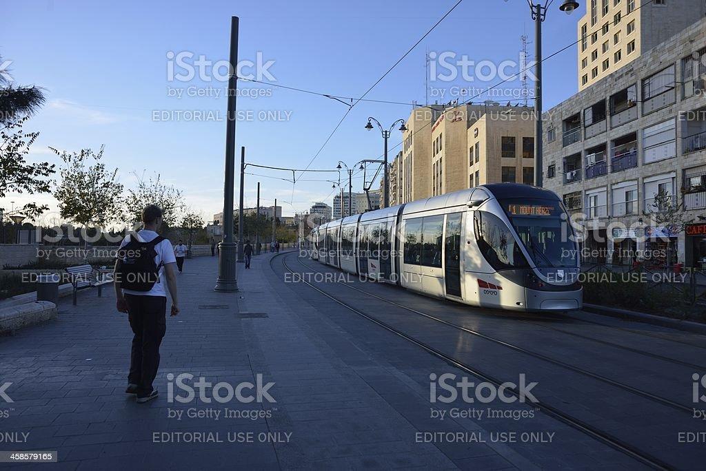 Jerusalem tram stock photo