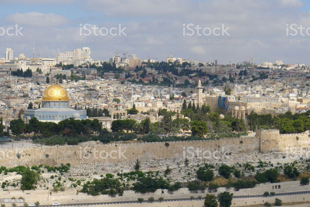 Jerusalem view from Mount of Olives stock photo