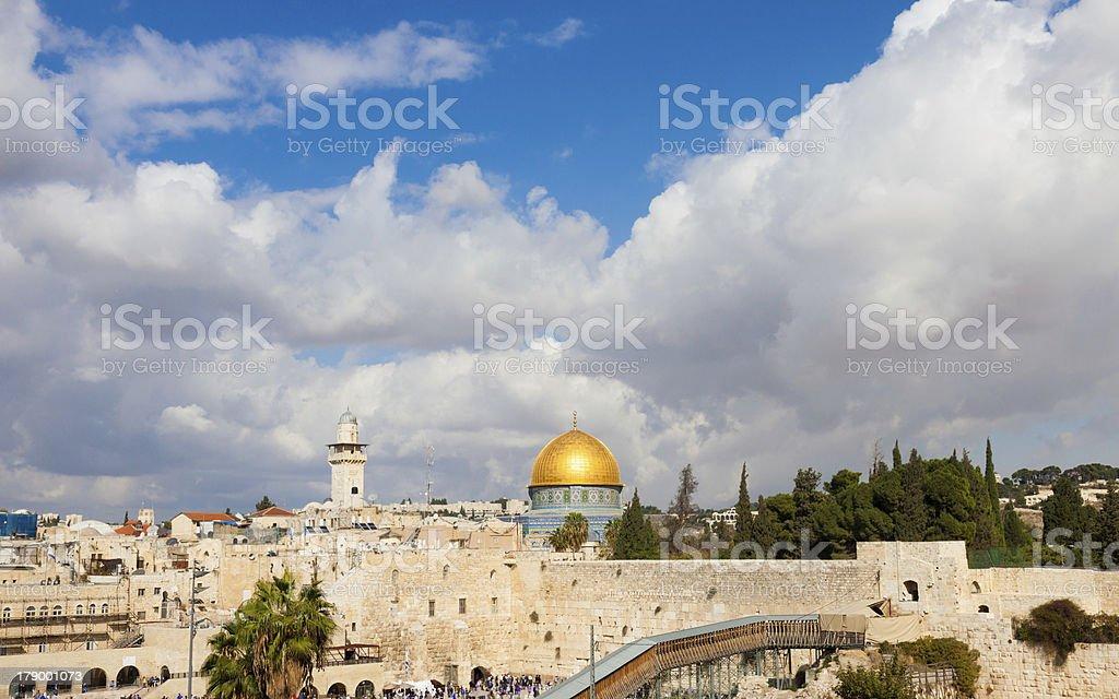 Jerusalem, Wailing Wall and Al Aqsa royalty-free stock photo