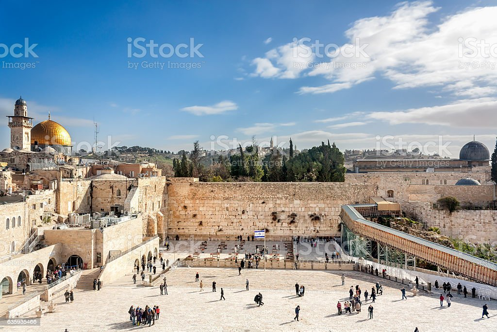 Jerusalem - Wailing Wall and Temple Mount stock photo