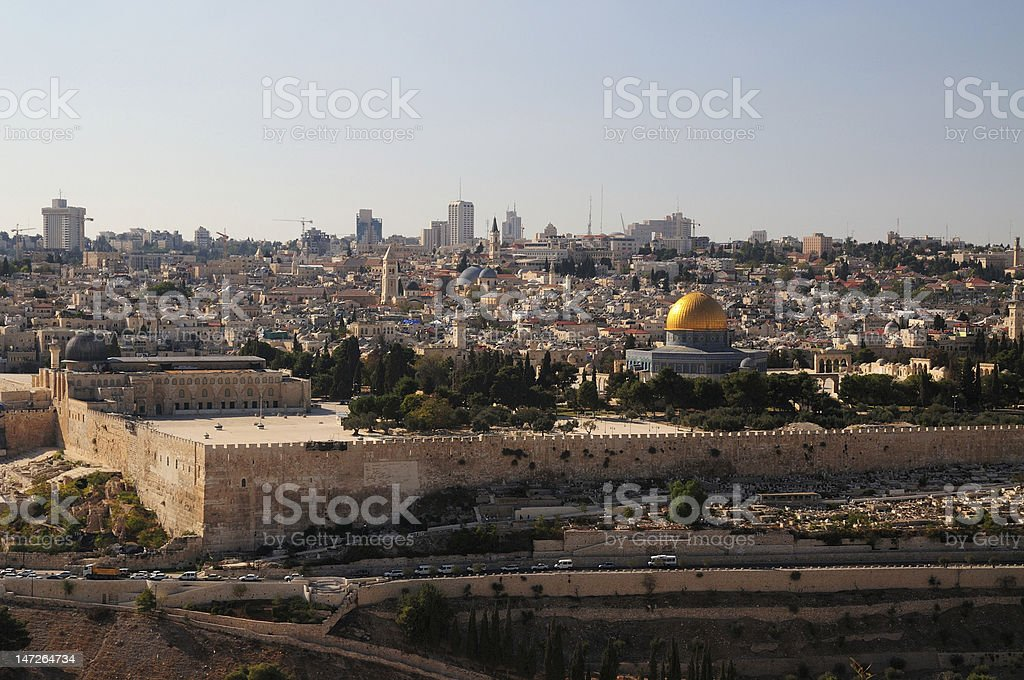 Jerusalem wall of the old city stock photo
