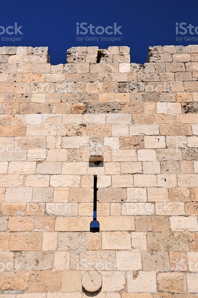 Jerusalem, west side of the city walls with arrowslit stock photo