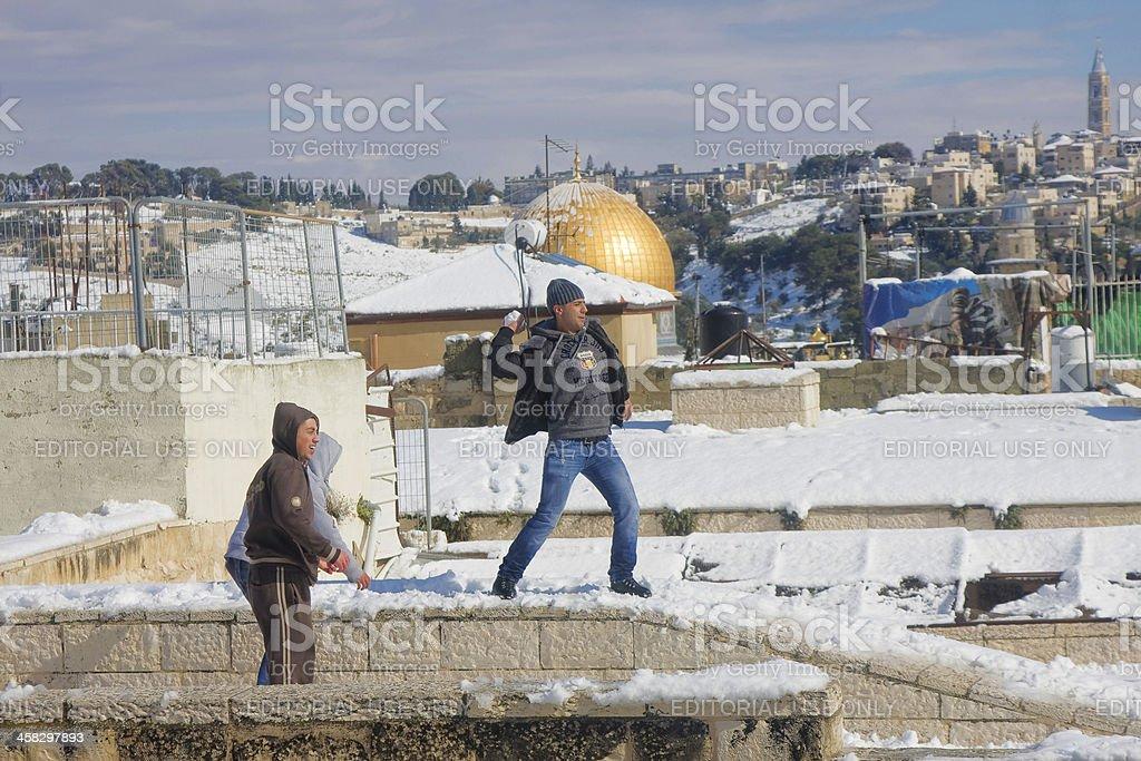 Jerusalem youth playing snowballs royalty-free stock photo
