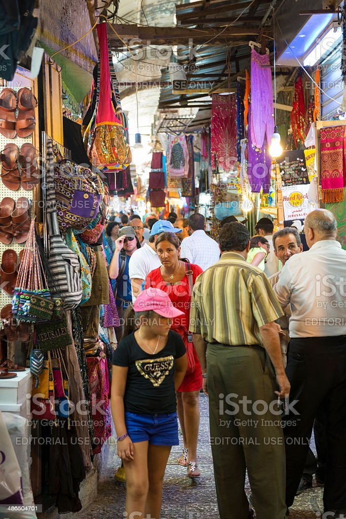 Jerusalem's Muslim Quarter people and shops royalty-free stock photo