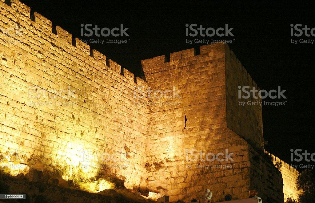 Jerusalem's Old City wall stock photo