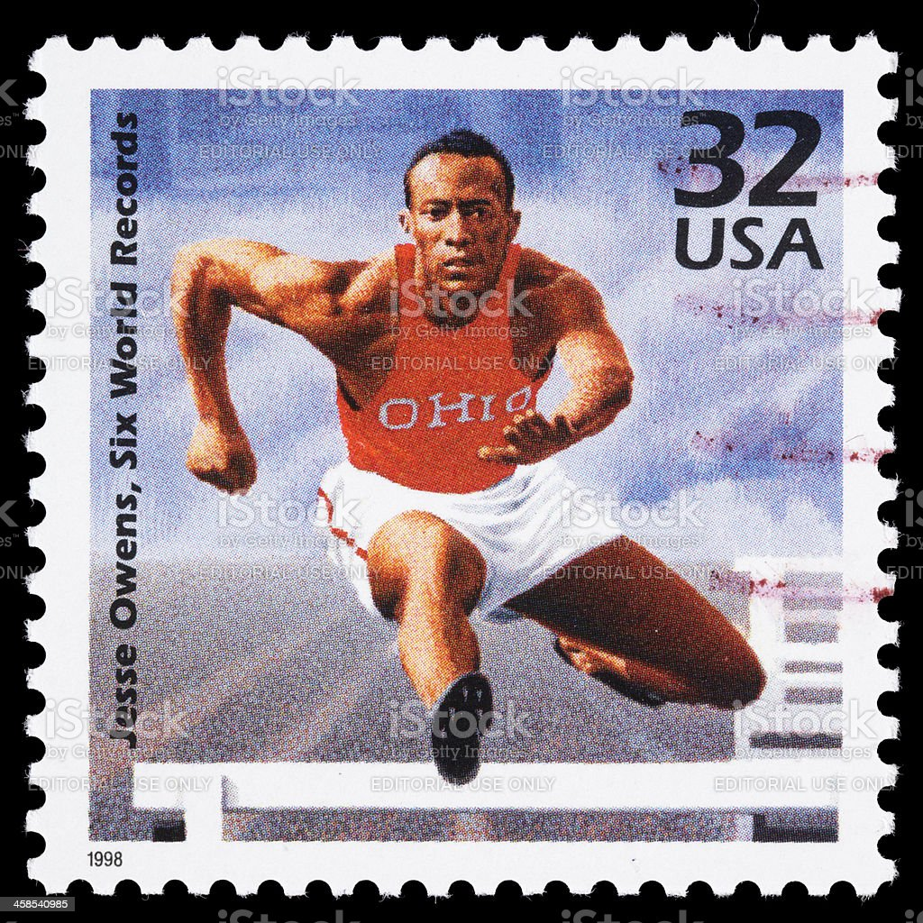 USA Jesse Owens postage stamp stock photo