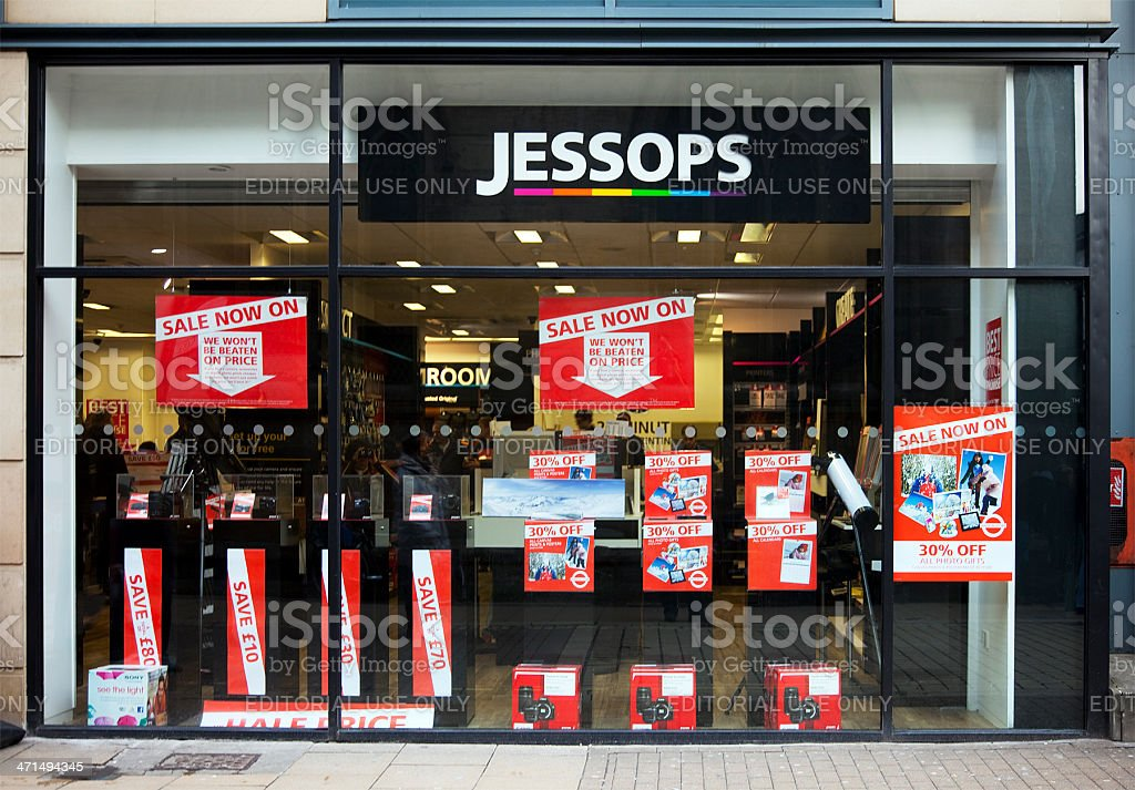 Jessops photographic store shop window, Sale signs and logo royalty-free stock photo