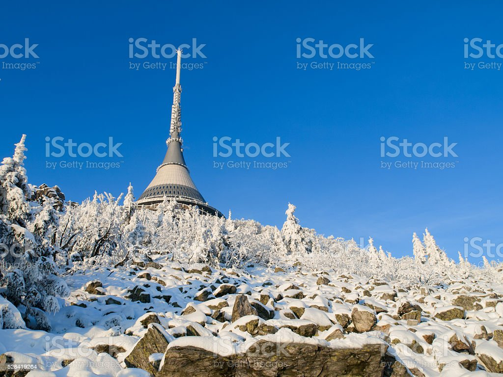 Jested transmitter in winter time stock photo