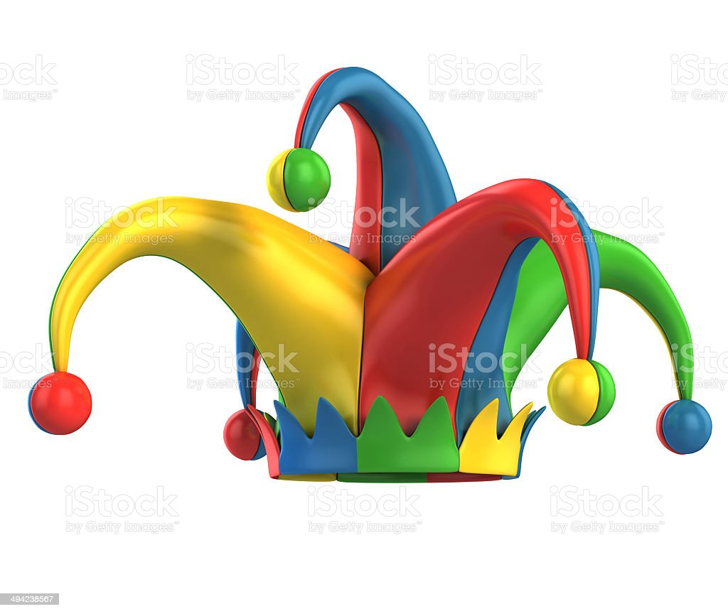 jester hat isolated on white stock photo