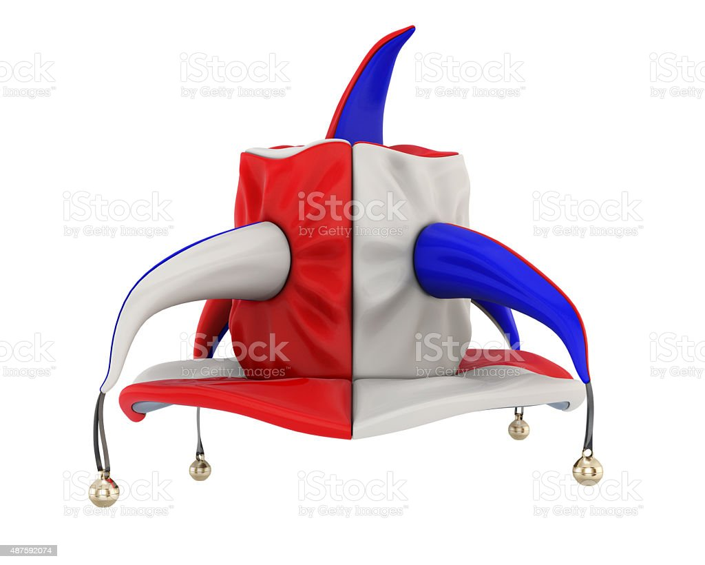 Jester hat on a white. stock photo