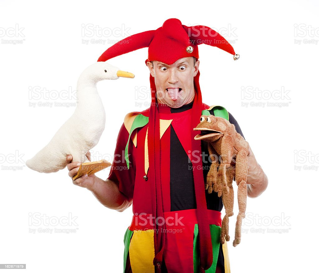 jester with puppets stock photo